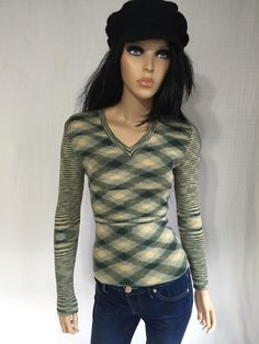 Vintage 70s Space Dyed Sweater  1970s Green by GypsysClosetVintage