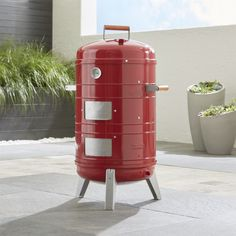 Wherever Grill with Smoker Upgrade Kit - Crate and Barrel Barbecue Four A Pizza, Barbecue Smoker, Grilling, Bbq, Bench Furniture, Custom Furniture, Large Ice Cube Tray, Bread Oven, Grill Accessories