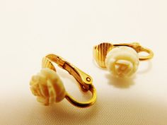 Gold Tone Carved White Rose Small Petite Clip by TheEarringPlace
