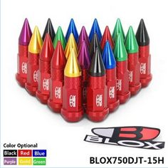 BLOX JDM Racing Aluminum Mix Color Spike Lug nuts 50mm M12x1.5 BLOX750DJT-15H
