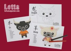 Super Cute Chinese New Year Animal Printables (Lotta Magazine) Asian New Year, Chinese New Year 2016, New Year's Crafts, Felt Crafts, Toddler Preschool, Toddler Activities, Chinese Birthday, New Year Printables, Chinese New Year Activities