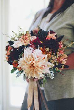 Love 'n Fresh Flowers bridal bouquet with oxblood and cafe au lait dahlias