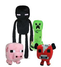 Minecraft Plush Figures Set: Creeper, Enderman, Baby Mooshroom & Baby Pig - Plush Hub