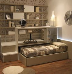 Guest room idea... take this one step further. Make the trundle bed a queen size, on wheels. When it's pushed in, part of it sticks out as a day/twin bed. Pulled out, the whole bed is accessible. writing desk with trundle bed