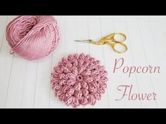 Knitting Patterns Poncho How to crochet flowers: Popcorn Stitch Flower Crochet Puff Flower, Crochet Flower Tutorial, Crochet Leaves, Crochet Motifs, Knitted Flowers, Crochet Flower Patterns, Crochet Stitches Patterns, Crochet Hats, Left Handed Crochet