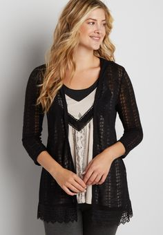 lightweight cardigan with pointelle stitching and crocheted hem (original price, $32.00) available at #Maurices