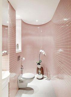 Creative Soft Pink Tiles for Magical Bathroom Idea, soft pink bathroom interior color, soft pink wallpaper, soft pink color code, best bathroom design ideas and photos Bad Inspiration, Bathroom Inspiration, Bathroom Ideas, Bathroom Goals, Bathroom Designs, Bathroom Interior, Modern Bathroom, Modern Toilet, Simple Bathroom