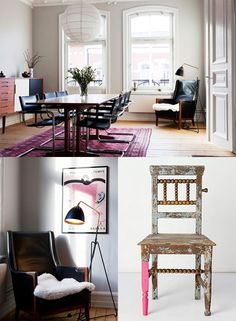 black and fuschia and white all over, via boleget; swarm studios chair with one pink leg for anthropologie. • top image christopher wool, via art river. Via sfgirlbybay