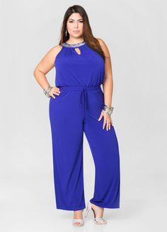 21b80b568049 Rhinestone Keyhole Wide Leg Jumpsuit - Ashley Stewart Fashionable Plus Size  Clothing