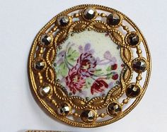 Antique Brass Filigree Button with Enamel Floral Design with Cut Steels.