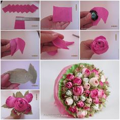 Creative Ideas – DIY Chocolate English Rose Half the fun is finding the hidden chocolates!Crepe+paper+flowers+look+like+natural+flowers+but+last+longer+and+won't+wilt+or+droop.+That's+why+they+are+very+popular+for+home+or+party decorations. Candy Flowers, Diy Flowers, Fabric Flowers, Flower Ideas, Tissue Paper Flowers, Paper Roses, Chocolate Flowers Bouquet, Chocolate Roses, Chocolate Dreams