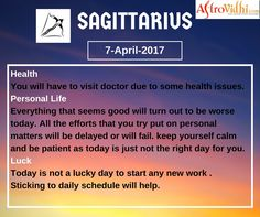 Check Your Today's Sagittarius Zodiac Sign (7-April-2017). Read your detailed horoscope at astrovidhi.com.