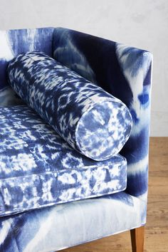I recently made loose covers for my own sofa using a Shibori print fabric, so obviously I'm feeling this! Shibori, Textiles, Bear Decor, Soft Furnishings, Pantone, Home Furniture, Living Room Decor, Upholstery, Creations