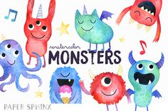 Monsters Clipart | Watercolor Monster Birthday Party - Baby Monsters - Halloween Monsters - Creatures Clipart - Digital Instant Download PNG
