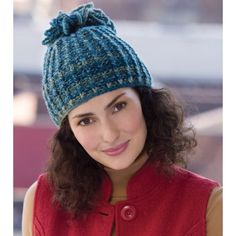 Mary Maxim - Free Looped Tassel Hat Knit Pattern