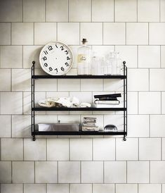 "Can't afford the String shelf, but this is what our kitchen could look like: 6"" x 6"" running bond tile, dark grout and open shelving."