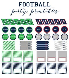 free football party printables - new england patriots and seattle seahawks banner, cupcake toppers, flags, and menu cards