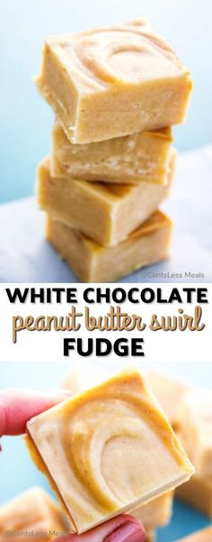 Decadent, simple and insanely delicious this recipe for White Chocolate Peanut Butter Swirl Fudge is just perfect for the holidays. Microwave Peanut Butter Fudge, Peanut Butter White Chocolate, Peanut Butter Recipes, Fudge Recipes, Candy Recipes, Dessert Recipes, White Chocolate Bark, Hot Chocolate, Homemade Chocolate