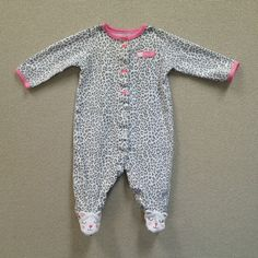 Carters Baby Girl Clothes Sleeper Size 3M Daddy's Girl Gray White with Pink Bows | eBay