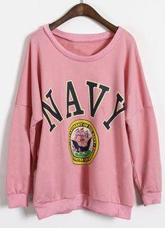 Pink Long Sleeve Letters Print Loose Sweatshirt