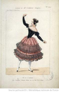 [Pas de la cachucha dansé au Cirque national des Champs-Elysées : costume de Melle Camille (écuyère)] Éditeur : Martinet (Paris) Date d'édition : 1840 Sujet : Costume de danse