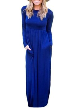 NEW Women Long Sleeve High Waist Maxi Dress Winter Fashion Casual Ruched Jersey Long Dresses with Pockets Party Gown Sexy Dresses, Blue Dresses, Casual Dresses, Dresses With Sleeves, Long Dresses, Elegant Dresses, Dress Long, Cheap Dresses Online, Skirt Fashion