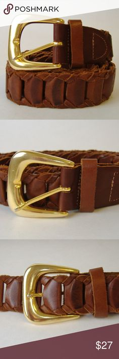 7db03240fff Capezio Brown Leather Belt Gold Metal Buckle Woven Woven genuine leather  belt by Capizio. Brown