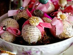 lOvE ~~ Easter Eggs w/ mod podge newspaper, ribbons & vintage touches...