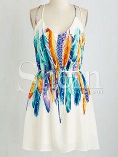 robe motif-plume à bretelle -blanc