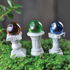 Set Of 3 Fairy Garden Gazing Ball Picks Miniature Terrarium Accessory Gift Cute