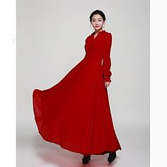 Women's Solid Red Dress , Vintage/Casual/Maxi V Neck Long Sleeve – USD $ 36.99 Scarlet Witch Costume, Vintage Lanterns, Ladies Party, Swing Dress, High Neck Dress, V Neck, Dress Vintage, Long Sleeve, Casual