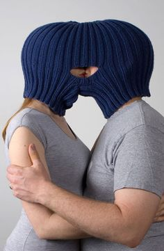 Andrea vander kooij: Balaclava for kissing, from the series Garments for the forced intimacy. Unique Romantic Gifts, Wacky Hair, Knitting Humor, Yarn Bombing, Valentine Gifts, Crochet Projects, Knitted Hats, Knit Crochet, Hidden Face