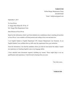 Surat Lamaran Kerja Guru Bahasa Inggris By Effendy Goring