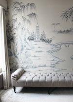 hand painted wallpaper, silk wallpaper, china wallpaper, grace silk wallpaper panel, chinoiserie style wallpaper, handmade wallpaper, exlusive wallpaper, chinese painting, chinoiserie wallpapers, chinese wallpaper