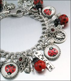 Ladybug Charm Bracelet Silver Charm Bracelet by BlackberryDesigns, $87.00