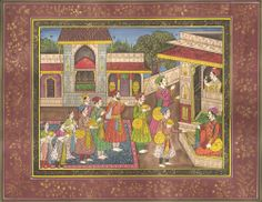 Moghul Miniature Artwork.  The miniature superbly illustrates the sumptuous decor of the open durbar (court), the rich carpets and the furnishings. All of which bring to light the magnificent public spectacle which the Mughal empire was famous for and defined the way it existed.