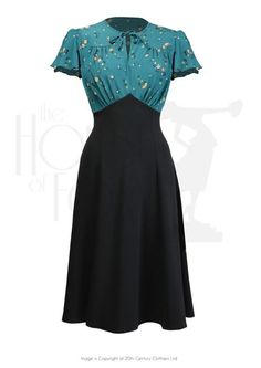 Style Grable Tea Swing Dance Dress In Spring Garden Misc 1940s Fashion Dresses, 1940s Outfits, 1940s Dresses, Pin Up Dresses, Vintage Style Dresses, Vintage Outfits, Vintage Fashion, Fashion Outfits, Tea Dresses