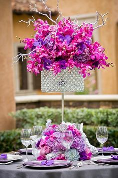 wedding reception tall  table floral centerpieces | tall centerpieces Archives | Weddings Romantique