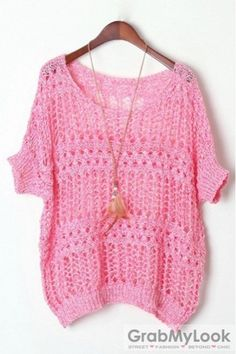 Apparel :: Sweater :: Batwing Sleeves Loose Fit Layering Crochet Knit Sweater