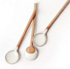 white dipped spoons by motley
