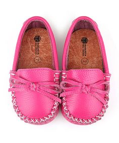 Look at this Augusta Baby Hot Pink Leather Moccasin on #zulily today!