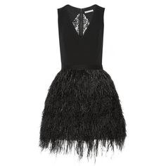 Alice + Olivia Kiara crepe and feather-embellished organza mini dress (3,195 PEN) ❤ liked on Polyvore featuring dresses, black, short party dresses, black feather dress, black party dresses, cocktail party dress and short black dresses
