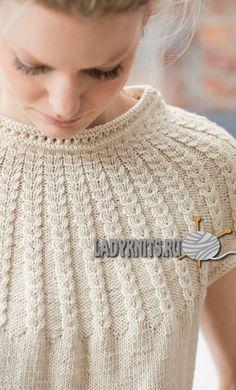 Вязание женского топа с круглой кокеткой из кос Cable Knitting Patterns, Knitting Stitches, Knitting Needles, Knit Patterns, Hand Knitting, Knitting Wool, Knit Fashion, Sweater Fashion, Norwegian Knitting