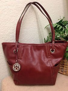 Relic Brick Red Faux Leather Tote Shopper Bag Shoulder Handbag Fob Medium  VGUC  d20f2879562e9