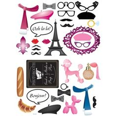 Paris Props make a great addition to any Paris Prom theme. Set up a Paris themed selfie station with these props!
