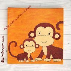 Tableau singes pour chambre bébé -  Deco pour chambre d'enfant thème jungle - 30x30cm