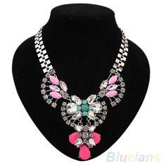 Fantastic Rhinestone Flower Crystal Jewelry Classic Statement Bib Chain Necklace #eroute66us