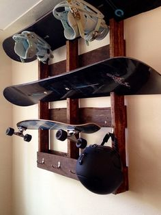 Snowboard & Equipment Shelf/Hanger by InPlaneSight on Etsy