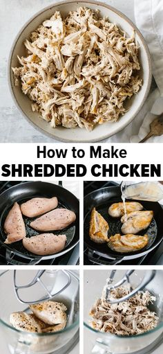Learn how to make shredded chicken that's easy, fast and flavorful. This is my favorite method for making shredded chicken that's far more flavorful than boiled or poached chicken. Quickly saute, steam, and shred chicken in in a stand mixer. Best Chicken Recipes, Chicken Flavors, Real Food Recipes, Cooking Recipes, Healthy Recipes, Recipes With Boiled Chicken, Easy Fast Recipes, Healthy Food, Boil Chicken To Shred
