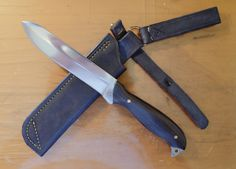 Tactical knife. D2 steel, ebony handle